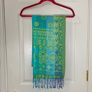 Accessories - 100% Silk Scarf Blue and Green Fringe